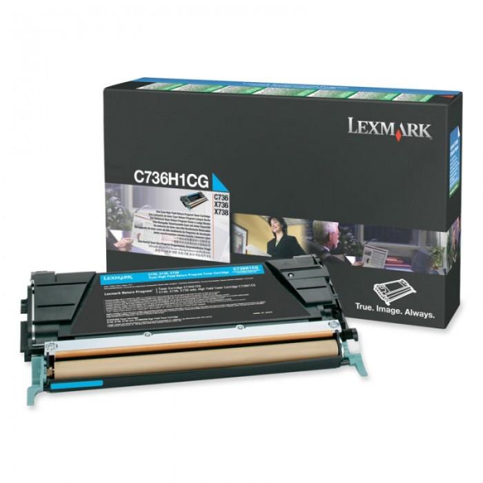 Toner Original pentru Lexmark Cyan, compatibil C736/X736/738, 10000pag  [0]