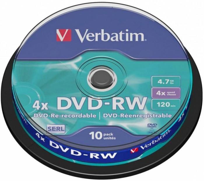 BLANK  DVD-RW Verbatim  SL 4X 4.7GB  10PK SPINDLE MATT SILVER  0