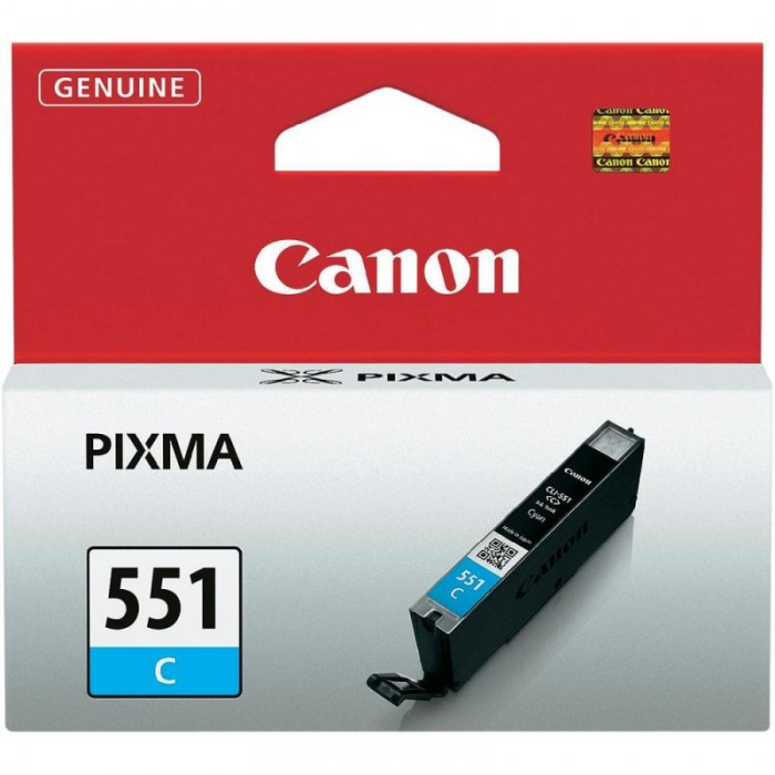 Cartus cerneala Original Canon CLI-551C Cyan, compatibil IP7250/MG5450/MG6350  [0]