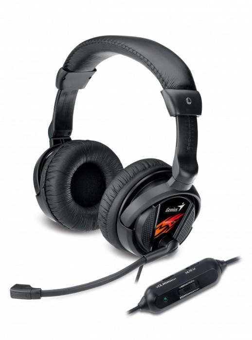 Casti stereo cu microfon, control volum pe fir, microfon noise cancelling, Vibration, Genius HS-G500V  0