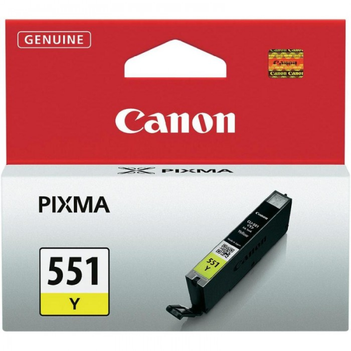 Cartus cerneala Original Canon CLI-551Y Yellow, compatibil IP7250/MG5450/MG6350  0