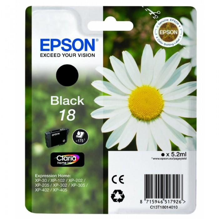 Cartus cerneala  Original Epson Black 18, compatibil XP102/202/205/30/302/305/402/405, 175 pag  0