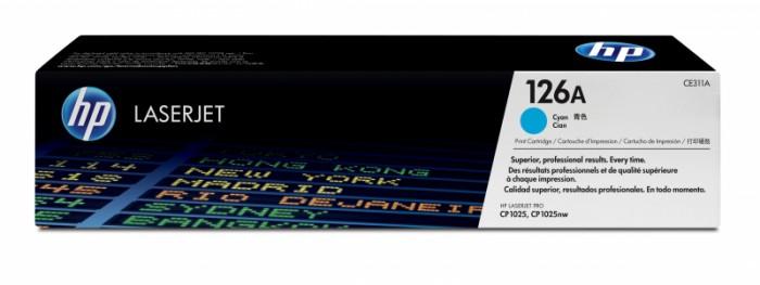 Toner Original pentru HP Cyan, compatibil CP1025/M175 126A, 1000pag  0