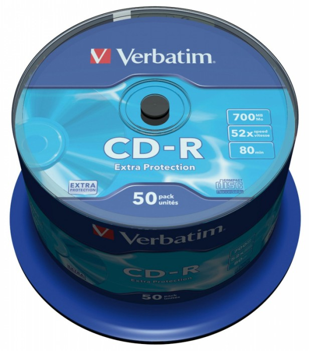 CD-R Verbatim DATALIFE 52X 700MB 50PK SPINDLE EXTRA PROTECTION  0