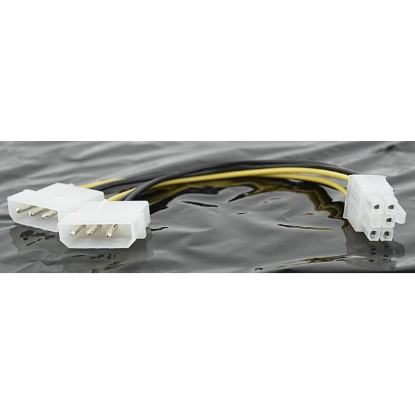 "Cablu Alimentare pentru placile video PCI-E, conectori de la 5.25"" Molex la 5.25"" Molex + 6pin PCIe, adaptor intern, GEMBIRD  0"