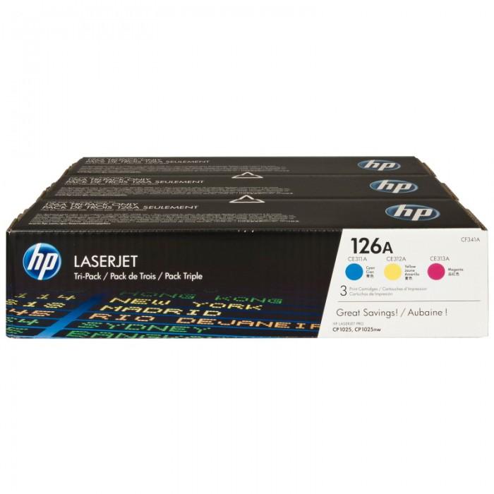 Toner Original pentru HP Color Tri-Pack 126A Cyan/Magenta/Yellow, compatibil CP1025, 3x1000pag  [0]