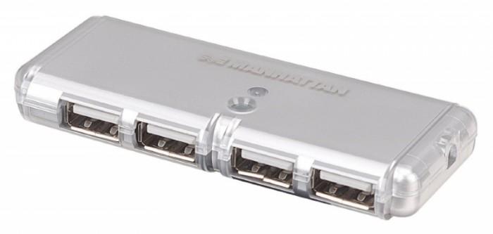 Hub USB 2.0 , Hi-Speed, Bus Power, Silver, 4 Ports, Blister  0