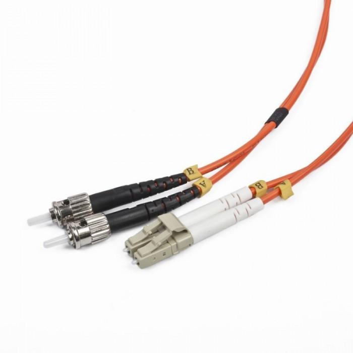 Cablu Fibra Optica, conectori LC-ST, lungime cablu 5m, duplex multimode, bulk, Portocaliu-negru-alb, GEMBIRD  0