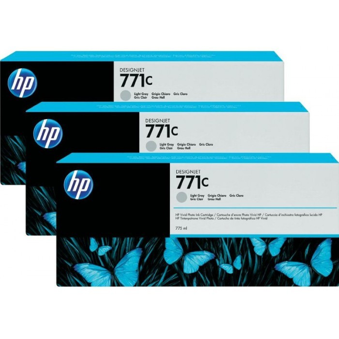 Cartus cerneala Original HP Gray Light 771C 3-pack, compatibil DesignJet Z6200, 775ml  0
