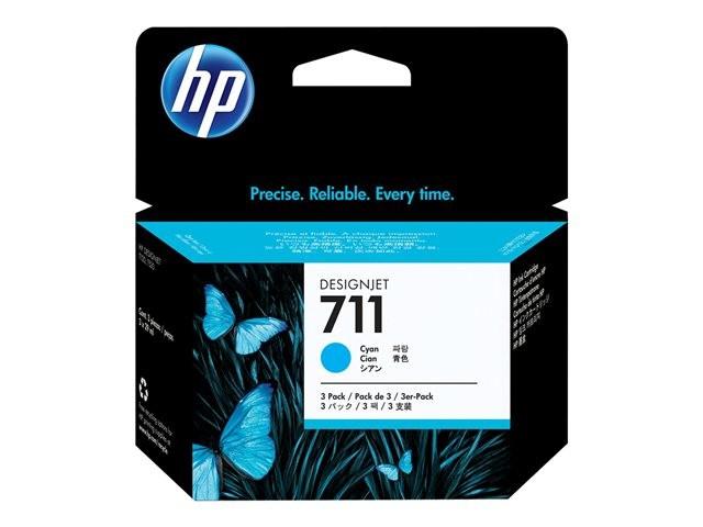 Cartus cerneala Original HP Cyan 711 3-pack, compatibil DesignJet T120/T520, 3x29ml  [0]
