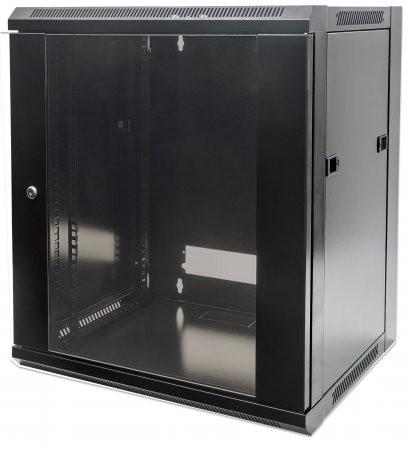 """Cabinet 19""""  fixare pe perete, Flatpack, Intellinet15U, Black, 770 (h) x 570 (w) x 450 (d) mm  0"""