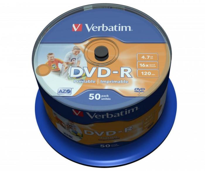 DVD-R Verbatim SL 16X 4.7GB 50PK SPINDLE WIDE INKJET PRINTABLE NO ID  0