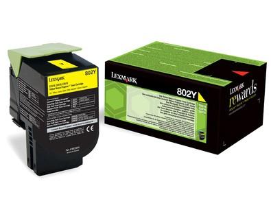 Toner Original pentru Lexmark Yellow 802Y, compatibil CX310/410/510, 1000pag  0