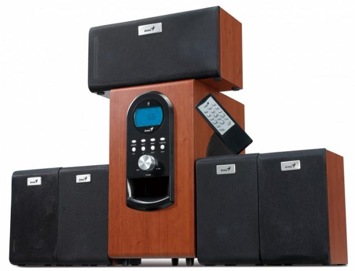 "Boxe 5.1 GENIUS ""SW-HF5.1 6000"" , RMS 200W: 20W x5 sateliti + 100W subwoofer, frecventa 40Hz - 20kHz, raport semnal 80dBa, cu telecomanda wireless si intrare casti, culoare: lemn-cires 0"