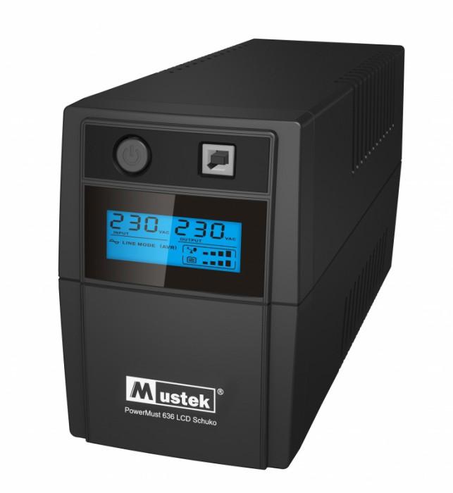 UPS  MUSTEK PowerMust  636 LCD (650VA) Line Interactive, Schuko  0