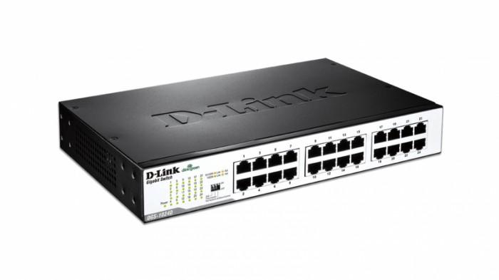 Switch unmanaged 24 port-uri Gigabit, 11inch 1U desktop, D-LINK  0