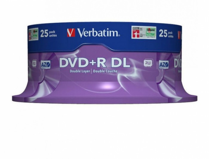 DVD+R Verbatim DL 8X 8.5GB 25PK SPINDLE MATT SILVER  0