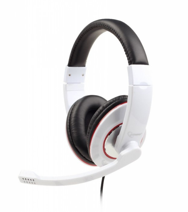 Casti stereo cu microfon Gembird, lungime fir 1.8m, control volum pe cablu, conector jack 3.5mm, White  0