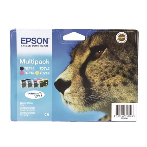 Cartus cerneala Original Epson Color Multipack T0711 + T0712 + T0713 + T0714, compatibil Stylus D78,DX4000/4050/5000/5050/6000/6050/7000F  [0]