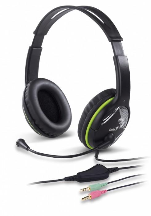 Casti stereo cu microfon, control volum pe fir, Green, Genius HS-400A  0