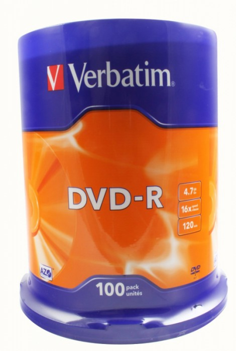 DVD-R Verbatim SL 16X 4.7GB 100PK SPINDLE MATT SILVER  0