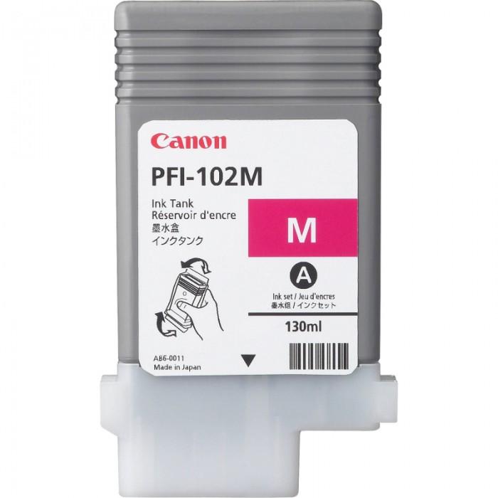 Cartus cerneala Original Canon DyeInk PFI-102M Magenta, compatibil LP17/LP24/iPF500/iPF6X0/iPF710/720, 130ml  0