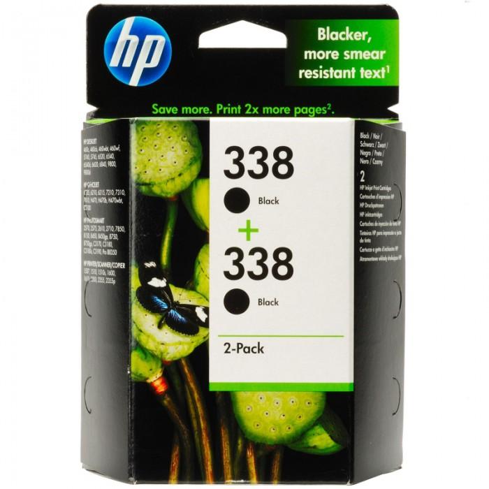 Cartus cerneala Original HP Black 338 2-pack w.Vivera ink, compatibil DJ460C/5740/6520/6540/6620/9800/PS1510/1610/2350, 2x11ml  [0]