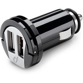 Incarcator auto cu doua mufe USB, negru, Cellular line  0