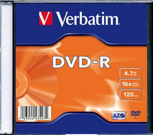 DVD-R Verbatim SL 16X 4.7GB SINGLE SLIM CASE MATT SILVER  0