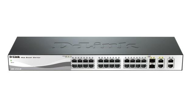 Switch Smart 24 port-uri 10/100M, plus 2 port-uri Gigabit, plus 2 sloturi combo Gigabit/SFP, 19inch 1U rack-mountable, D-LINK  0