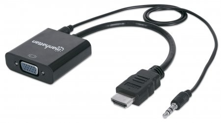 Cablu adaptor HDMI-Male/ VGA-Female, Audio, Black, Blister  0