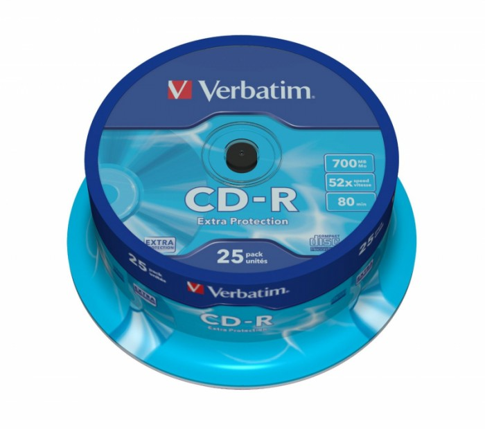CD-R Verbatim DATALIFE 52X 700MB 25PK SPINDLE EXTRA PROTECTION  0