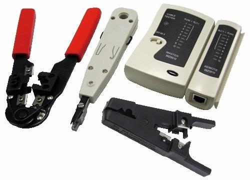 Trusa scule retelistica cu 4 piese (tester cablu, cleste sertizare, cleste dezizolare, cleste punch down), LOGILINK  0