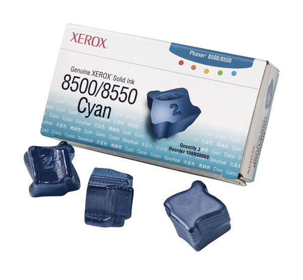 Cartus cerneala Original Xerox Cyan, compatibil Phaser 8500/8550, 3 sticks, 3000pag  0