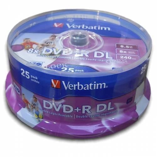 DVD+R Verbatim DL 8X 8.5GB 25PK SPINDLE PRINTABLE  0