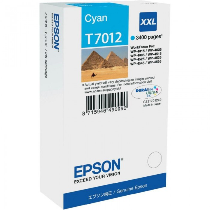 Cartus cerneala  Original Epson Cyan Workforce Pro 4000/4500 Series compatibil WP4000/4500 Series  XXL  3.4k  [0]