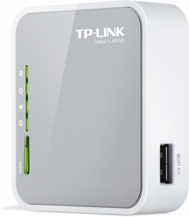 Router 3G wireless N portabil 150Mbps, antena integrata, frecventa 2.4-2.4835GHz, butoane: Reset, QSS, Selectie mod operare, standarde iEEE 802.11n/g/b, cu CD de instalare si manual, Alb-gri, TP-LINK  [0]