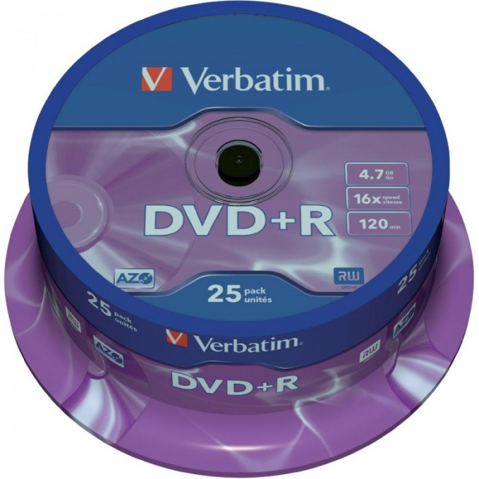 DVD+R Verbatim SL 16X 4.7GB 25PK SPINDLE MATT SILVER  0