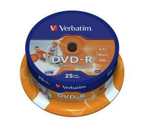 DVD-R Verbatim  SL 16X 4.7GB  25PK SPINDLE WIDE INKJET PRINTABLE ID BRANDED  0