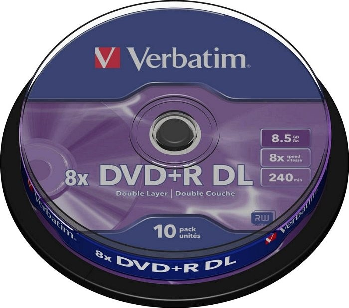 BLANK  DVD+R Verbatim  DL 8X 8.5GB  10PK SPINDLE MATT SILVER  0