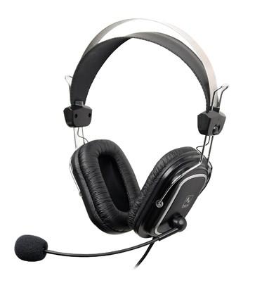 Casti cu microfon A4TECH  Comfortfit, profesionale cu fir, frecventa 20Hz - 20kHz, sensibilitate 97dB, cu jack de 3.5mm si design quadrate-ear-cushion, culoare: negru 0