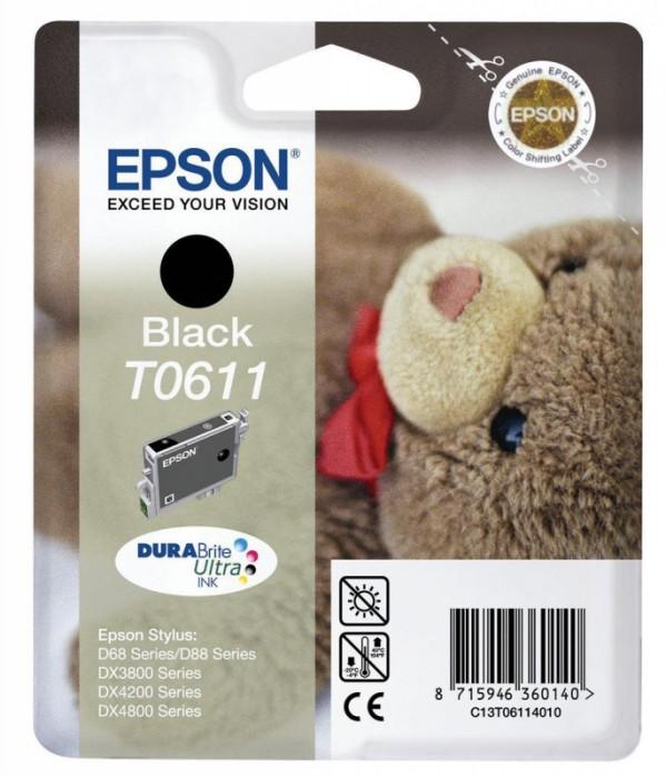 Cartus cerneala  Original Epson C13T06114010 Black, compatibil D88/D68PE/DX4800/DX4850/DX4200/DX4250/DX3800/DX3851 (C13T06124010) 0