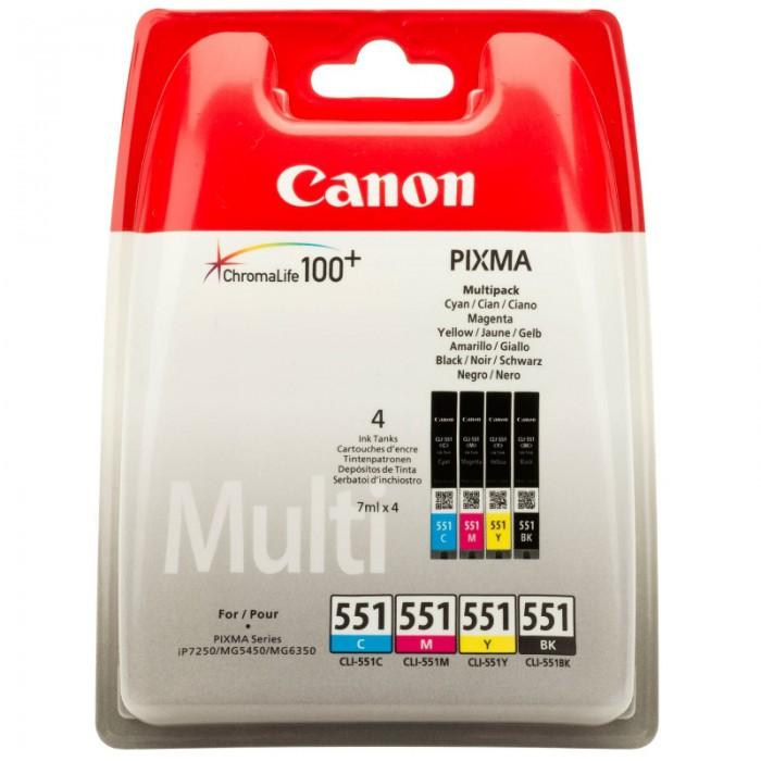 Cartus cerneala Original Canon CLI-551MULTI Color, compatibil IP7250/MG5450/MG6350, 4 x 7 ml  [0]