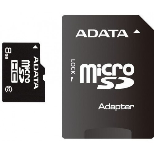 Secure Digital Card micro SDHC 8GB class10 ADATA, adaptor SD  0