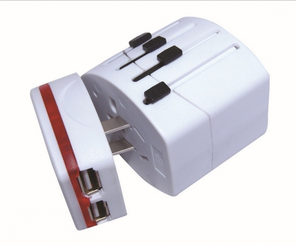 Adaptor priza travel Universal Spacer, 2 x USB, +150 tari  0