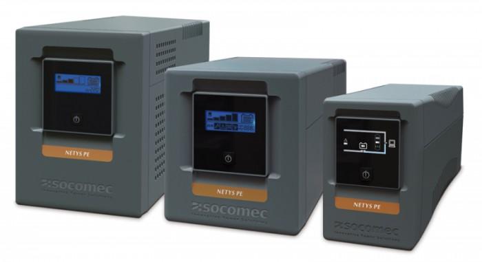 UPS SOCOMEC Netys PE 1000VA , line interactive de 1000VA si 600W, backup 45min, protectii: suprasarcina, descarcare, scurtcircuit, cu baterie din plumb si acid liber intretinut sigilate, tensiune iesi 0