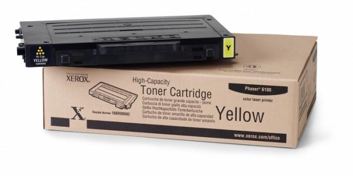Toner Original pentru Xerox Yellow, compatibil Phaser 6100, 5000pag  0