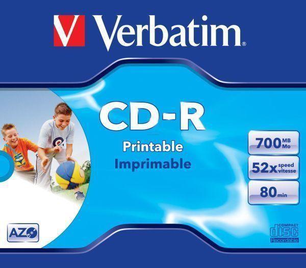 CD-R Verbatim AZO 52X 700MB JC WIDE INKJET PRINTABLE ID BRANDED  [0]