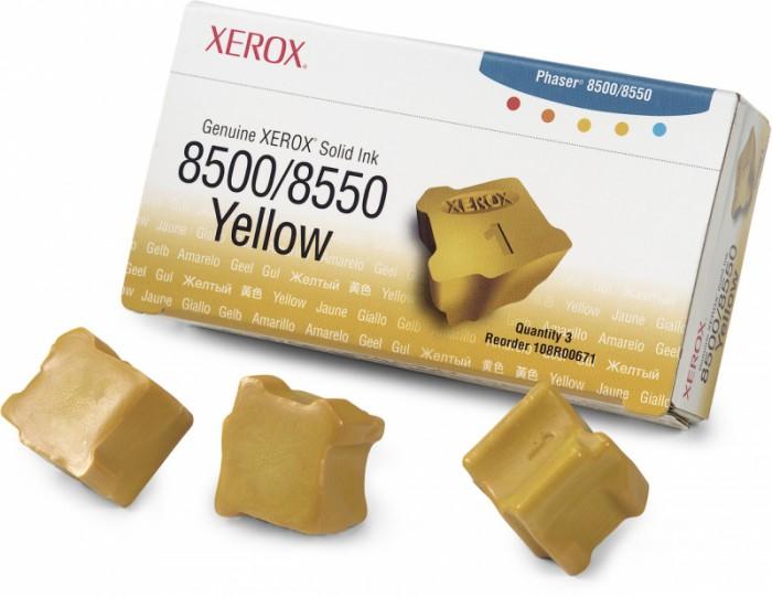Cartus cerneala Original Xerox Yellow, compatibil Phaser 8500/8550, 3 sticks, 3000 pag  0