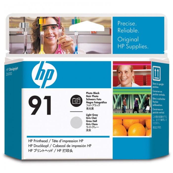 Cartus cerneala Original HP Black Photo+Grey Light Printhead 91, compatibil DesignJet Z6100  0